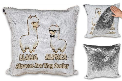 Alpacas are Way Cooler Funny Sequin Reveal Magic Cushion Cover